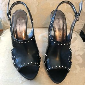 Heeled sandals black with silver studs size 10
